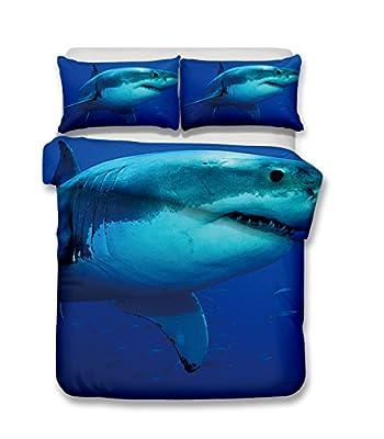 Deep sea white shark 3D Bedding Set Print Duvet cover set lifelike bed sheet #2