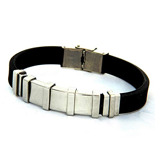 Indian Handicrafts Export Kaizer Sectional Head Black Silicon & Steel Bracelet -