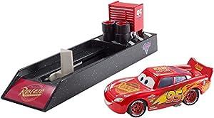 Cars 3 - Lanzador coche Rayo McQueen, coche de juguete (Mattel FLH76)