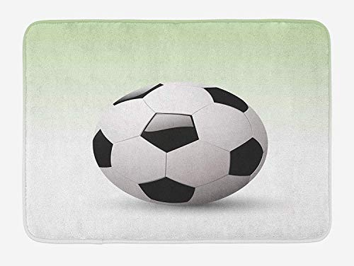 Sports Bath Mat, Vector Image of Football Soccer Ball Artwork with Green Ombre Background Image, Plush Bathroom Decor Mat with Non Slip Backing, 15.7X23.6 inch, Black and White