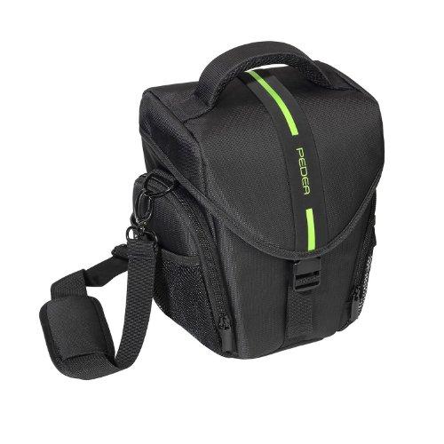 Pedea - Borsa per fotocamere Nikon D5100 e D3100, con spazio per corpo e obiettivo, tracolla e 3 scomparti per accessori, pellicola protettiva per display inclusa, apertura frontale