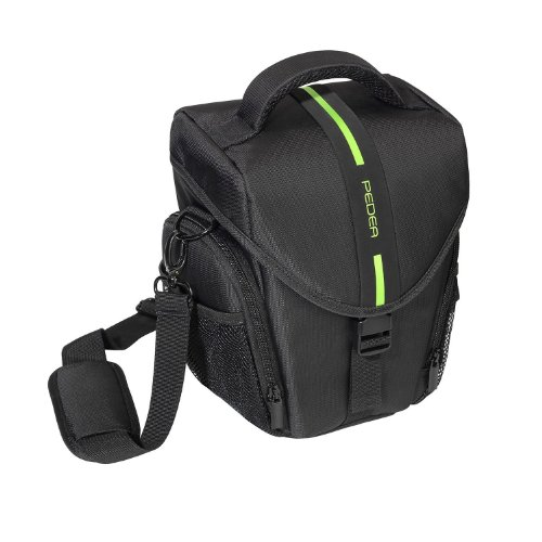 PEDEA SLR-Kameratasche mit Regenschutz und Displayschutz für Pentax K-3 / Sony Alpha 77 II / Canon EOS 6D, 7D, 500D, 600D, 700D, 750D / Nikon D5200 (Größe L), grün
