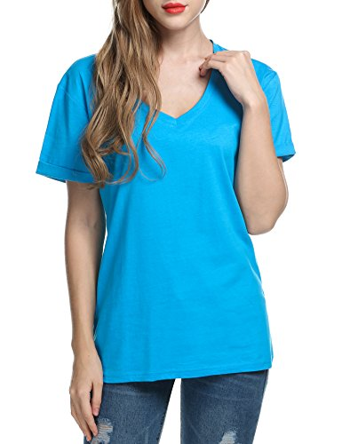 Keland Damen T-Shirt V-Neck Top Oberteile, Casual Shirt Blau