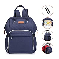 Wemk Baby Changing Bag Diaper Bag High Capacity Upgraded Waterproof Matirial Travel Nappy Changing Backpack for Mum Dad with Stroller Straps Blue