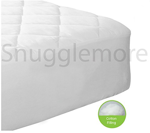 Hotel Luxury 100% Pure All Cotton Cover / Filling Quilted Mattress Protector Only Natural by Snugglemore (King)
