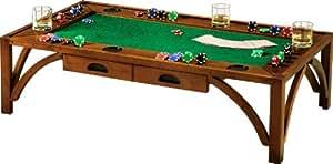 Table basse de poker rectangulaire 2 tiroirs merisier