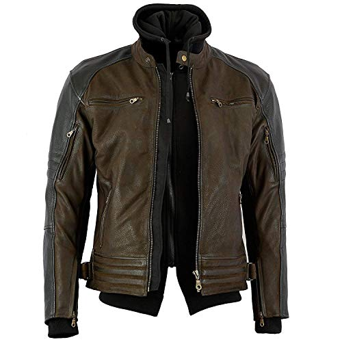 Bikers Gear Australia Limited The Craig - Chaqueta de piel de vaca con capucha y 5 puntos, color marrón con mangas negras, color marrón y negro, talla 3XL
