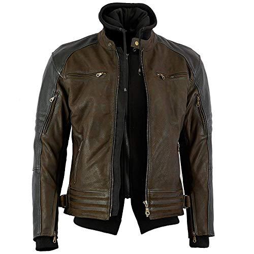 Bikers Gear Australia Limited The Craig giacca moto nabuk cerato in pelle bovina con cappuccio con 5punti Armour, marrone con maniche nero, marrone e nero, taglia XL