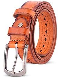 Hukangyu1231 Cinturon de Mujer Correa de Cuero de Las señoras Correa de la Hebilla de la Aguja del Hueco de la aleación del Todo-fósforo Cinturón para Mujer (Color : Amarillo, tamaño : 115cm)