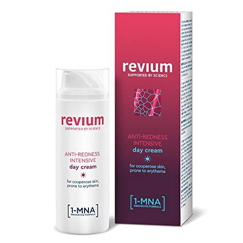 Revium - Crème de jour anti-rosacée, rougeurs et couperose, pour peaux sujettes aux érythèmes, enrichie en filtres à rayons UVA/UVB, molécule 1-MNA, coralline officinale rouge et fruit d'acérola