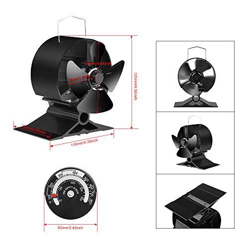 JKsmart Mini ventilador de estufa para espacios peque/ños en le/ña//estufa de le/ña//estufa//chimenea peque/ño ventilador silencioso y respetuoso con el medio ambiente
