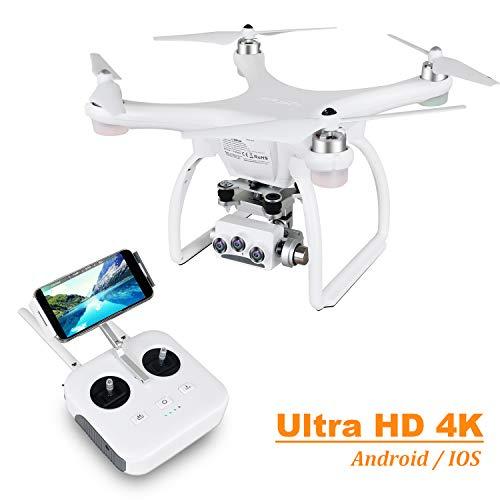 UPAIR Zwei 4K Drohne mit Kamera HD, 3D Kamera Drohne mit GPS und Optische Fluss Positionierung, Flug Planen, Auto Return, Professionelle Drohne für Anfänger