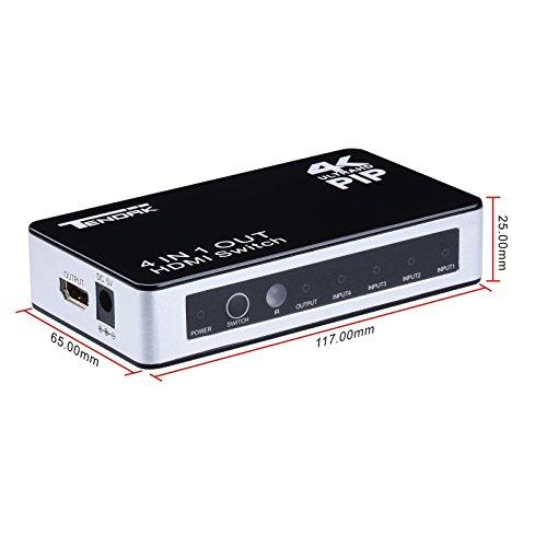 Tendak 4Kx2K4 Anschlüsse High-Speed HDMI Switcher Selector (4in1Out) mit Fernbedienung Unterstützt 1080P 3D PIP Automatik Schalter für Xbox/PS3/Apple TV/Roku/FireTV/Blu-Ray Player - 6