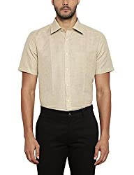 Park Avenue Mens Checkered Regular Fit Linen Formal Shirt (PMSL08278-F4_Medium Fawn_44)