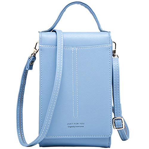 Handtasche Damen Kleine,ICEIVY Crossbody Handytasche Phone Bag für Damen,Frauen,Mädchen,Leder Einfarbig Kartenhalter Schulter Brieftasche Umhängetasche Cross Body Bag Women Shopper Handy Tasche (Blau)