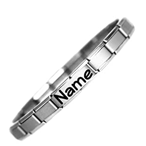 Personalised Name Stainless Steel Charm Bracelet - Ready to wear one size (adjustable) 18 Link Italian charm bracelet. See description for details on how to provide name