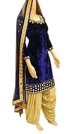 KFHub Women's Velvet Dress Material (Miroor Velvet Blue_Blue_Free Size)