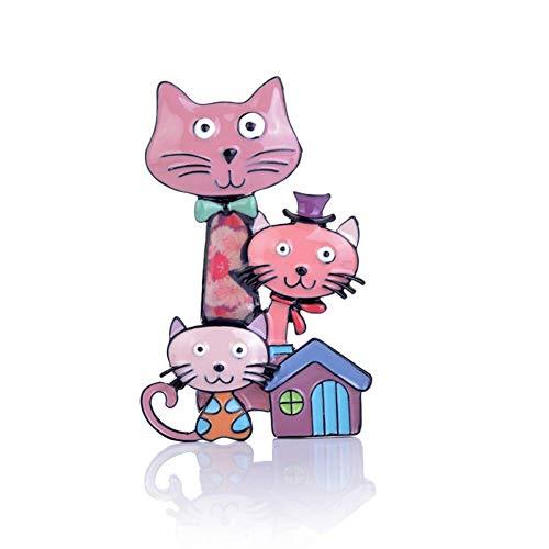 Cat Kostüm Classic - CCJIAC Emaille Tier Brosche Frauen Kragen Hut Zubehör Broschen Pins Trendy Classic Cat Family Multifunctional Jewely