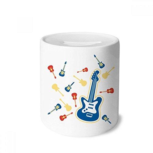 DIYthinker Gelb Gitarre Musik Muster Illustrieren Spardose Sparkassen Keramik Münzfach Kinder Erwachsene 3.5 Zoll in Height, 3.1 Zoll in Duruchmesser Mehrfarbig