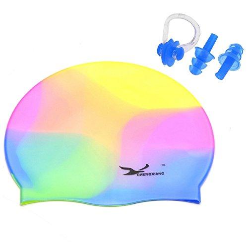 Butterme Silikon Badekappe, wasserdicht Erwachsener Langes Haar Schwimmkappe + Nasenklammer und Ohr Stecker, für Männer, Frauen, Erwachsene, Kinder. Mädchen und Jungen (Bunt)