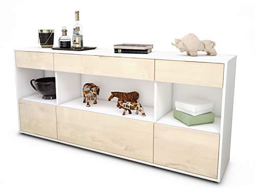 Stil.Zeit Sideboard Fabiana/Korpus Weiss matt/Front Holz-Design Zeder (180x79x35cm) Push-to-Open Technik & Leichtlaufschienen
