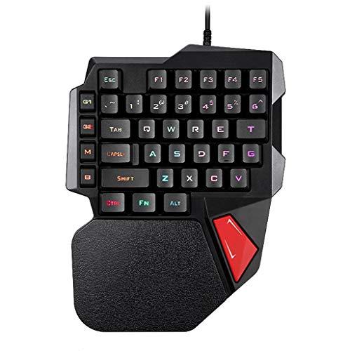 Yeefant Einhand-Tastatur, K108 kabelgebunden, 38 Tasten, LED, Hintergrundbeleuchtung, USB, ergonomische Einhand-Tastatur, Mobile Gaming Tastatur PC (Mit Wireless Lautsprecher Tastatur)