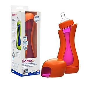 Iiamo Go, Biberon riscaldante 2-in-1 con tettarella BPA free e funzione anti-coliche, Multicolore (Arancione/Rosa)