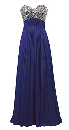 Vantexi Damen Falten Chiffon Lang Abendkleid Ballkleid Partykleid Royal Blue Größe 34