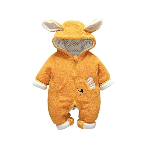 Felpa Conejo Encapuchado Mono recién Nacido Invierno Moda Niñito Bebé Niños niñas Calentar Mameluco Mono Encantador… 1