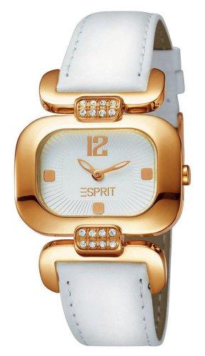 Esprit ES101992007 - Reloj analógico de mujer de cuarzo con correa de piel blanca - sumergible a 30 metros