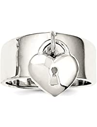 ICE CARATS 925 Sterling Silver Dangle Lock Band Ring S/love Fine Jewelry Gift Set For Women Heart