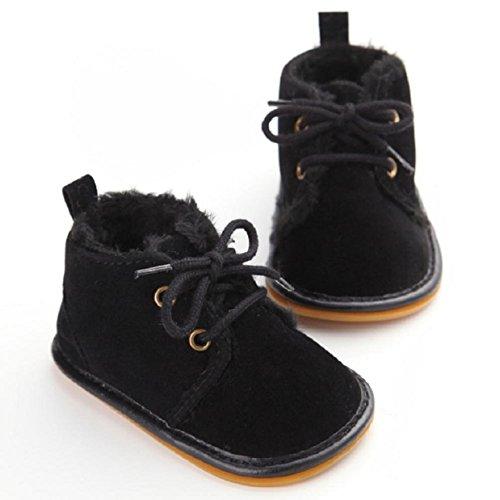 OverDose Baby-Kleinkind -Säuglings Schnee Stiefel Schuhe Gummisohle Prewalker Krippe Schuhe 0-6 Monate 6-12 Monate 12-18 Monate Schwarz