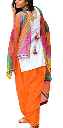 Clickedia Women\'s Semi Stitched Heavy Slab Cotton White & Orange Patiala Suit With Dupatta - Dress material