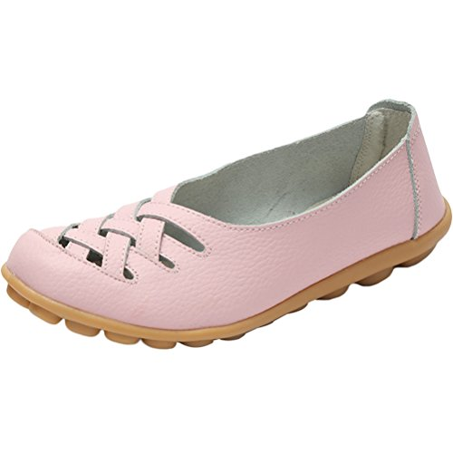 Vogstyle Damen Neu Hohl Mokassins Flach Loafer Slipper Schuhe Pink
