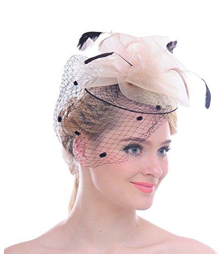 a Punkt Mesh- Netz Schleier Feder Fascinator Haar Klipp Hut Hochzeit Cocktail (Elegante Kostüme)