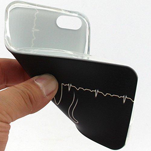 Voguecase® Per Apple iPhone 5 5G 5S, Custodia Silicone Morbido Flessibile TPU Custodia Case Cover Protettivo Skin Caso (Gatto / ECG) Con Stilo Penna Gatto / ECG
