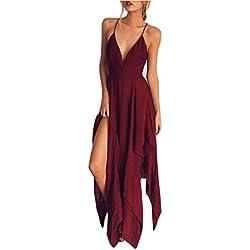 Vestidos mujer Sexy Vestidos de fiesta largo de noche Boho de mujer de verano Vestidos de coctail Vestido de playa casual Vestido de tirante ❤️Amlaiworld❤️ (Rojo, S)