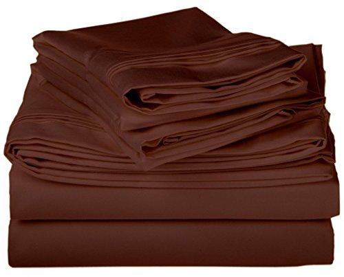 Leinen House Hotel Betten Produkt 500-thread-count 100% ägyptische Baumwolle Queen 4Stück Bogen Set mit 58,4cm Deep Pocket Spannbetttuch, weiß, baumwolle, braun, King Size -