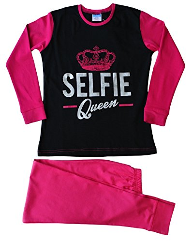 ThePyjamaFactory Girls Selfie Queen Long Pyjamas 9 to 16 Years Pink Black (11-12 Years)