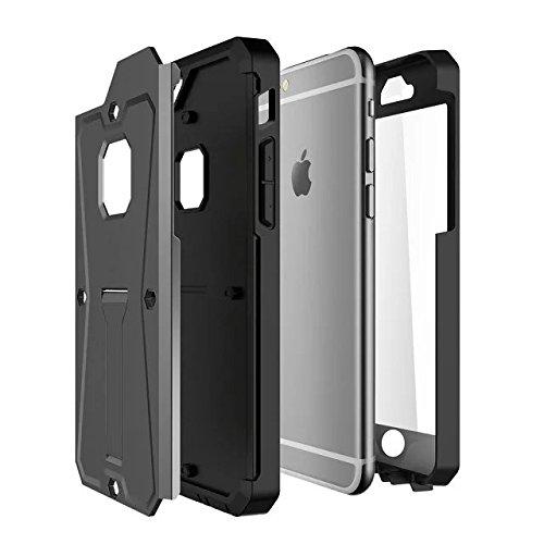 IPhone 6 Plus / 6S Plus Hülle, Valenth Tank 3 in 1 Harte Rückseite Hülle mit Kickstand und Displayschutz Drop Resistance 3 Layer Cover Hülle für iPhone 6 + / 6S + Golden Golden