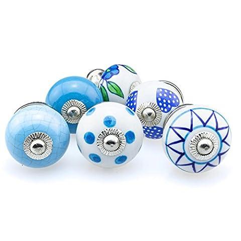 Boutons de Meuble Céramique Assortiment 6 pièces No.26 383 Multicolore bleu Le tiroir en porcelaine peint à la main tire les poignées du meuble - Jay Knopf