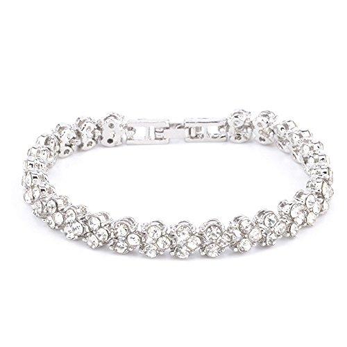 �r Damen, Frauen Elegant Roman Style Crystal Diamond Armbänder Geschenke Armreif Wrap Armband Schmuck (Silber) ()