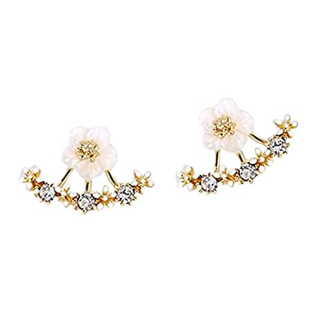 Butterme 3 Pairs Cute Little Daisy Flower Crystal 925 Silver Needle After Hanging Ear Stud Earrings For Women Lady Girls (Silver, Gold, Rose Gold) - 925 Polsino Di Gioielleria