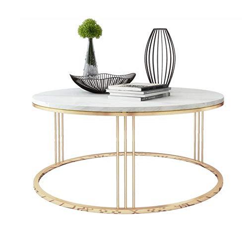 ZHIRONG Moderner Marmor-Beistelltisch, runder Couchtisch, Weiß/Gold, 50 x 45 cm -