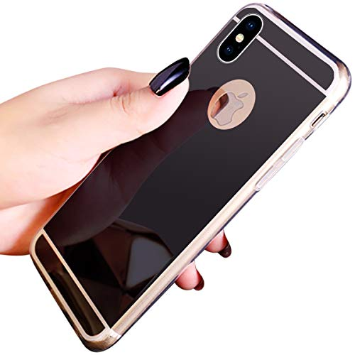 Coque iPhone XR,Miroir Housse Coque Silicone TPU pour iPhone XR,Surakey Bling Briller Diamond Coque Miroir Etui TPU Téléphone Coque de protection pour iPhone XR, Noir