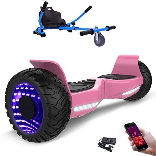 "MARKBOARD 8,5zoll SUV Bluetooth Hoverboard HummerElektro Scooter mit Off Road Reifen mit Hoverkart, Gokart, Sitzscooter, APP, Musik Lautsprecher (8,5\"" Pink LED Kart blau)"
