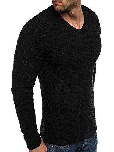 OZONEE Herren Pullover Hoodie Sweatshirt BLACK ROCK 256030 Schwarz