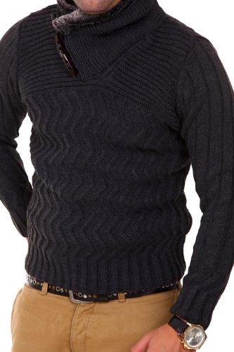 Carisma Strickpullover mit Schalkragen Pullover 7113 Dunkelgrau