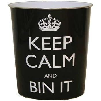 """JVL - Cestino per la carta con scritta""""Keep calm and bin it"""", 25 x 26,5 cm, nero."""