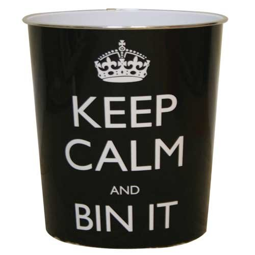 JVL Keep Calm and Bin It Waste Paper Bin - 25 x 26.5 cm, Black Test
